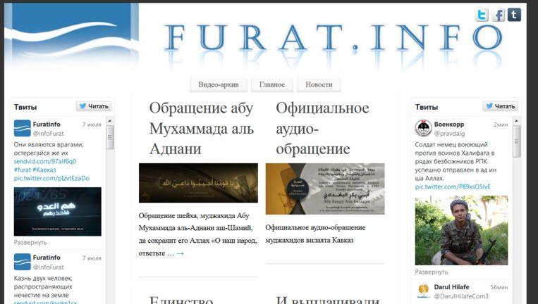 De website van het Russischtalige propaganda-kanaal. Beeld Furat.info