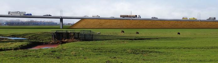 Brug in westelijke randweg over het spoor