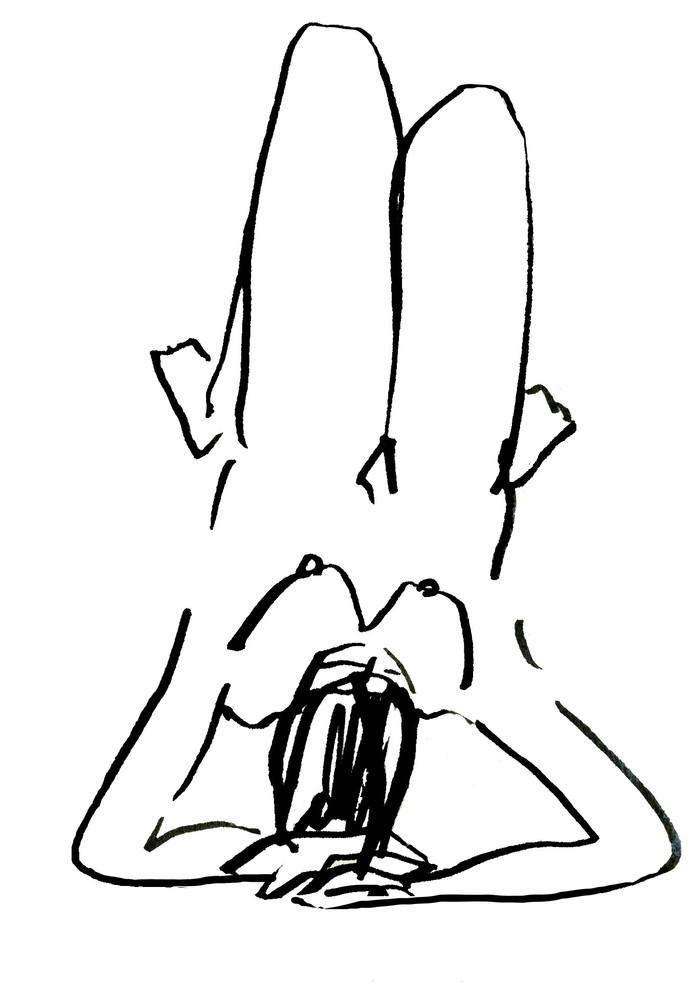 Tekening bij stadsgedicht Hengelo 'Overkant' van Hettie Franken