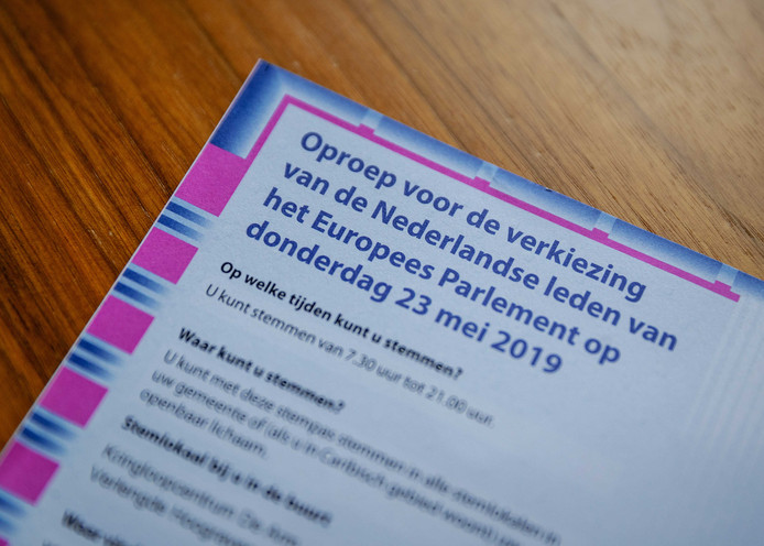 Een stempas voor de Europese verkiezingen op 23 mei.
