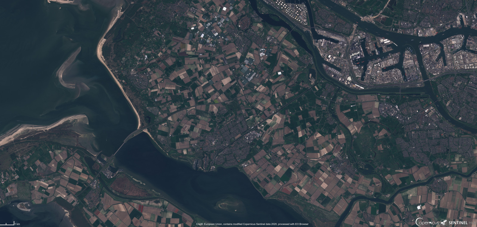Satellietbeeld van Voorne-Putten