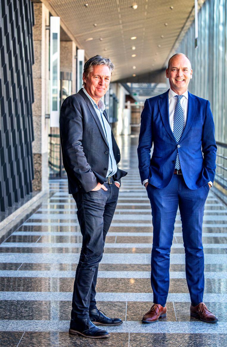 Hoogleraar sociologie Ruud Koopmans (links) en ChristenUnie-leider Gert-Jan Segers.  Beeld Raymond Rutting
