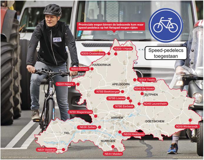 Op deze zestien plekken in de provincie mag de speed-pedelec op het fietspad.