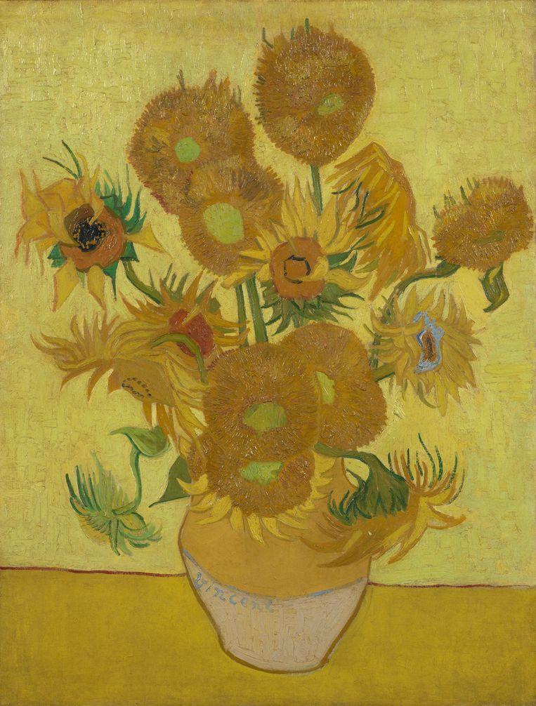 Voorzijde van De Zonnebloemen, die Van Gogh in Arles schilderde in 1889. Beeld Van Gogh museum