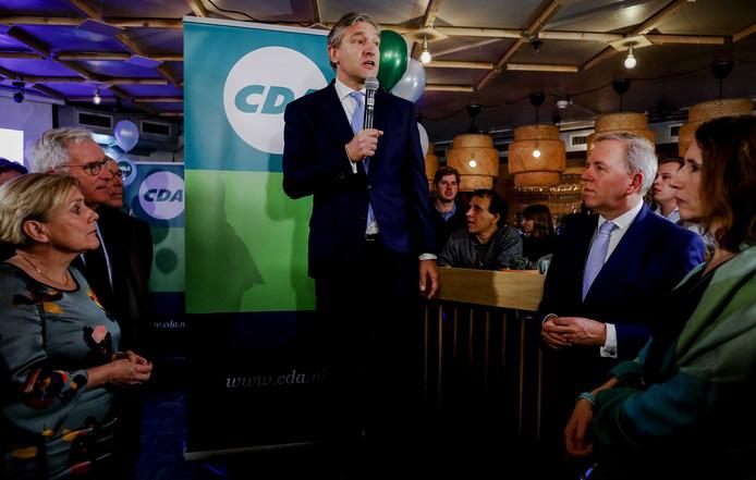 Fractievoorzitter Sybrand Buma van het CDA tijdens de uitslagenavond van zijn partij.