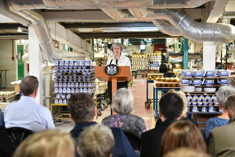 Theresa May in Stoke-on-Trent.  Beeld Getty Images