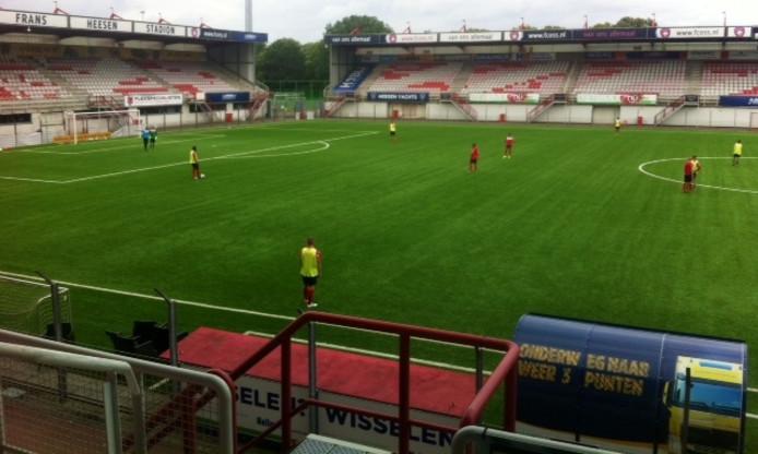 FC Oss speelde bij de laatste training voor de wedstrijd tegen Dordrecht even met de basisformatie.
