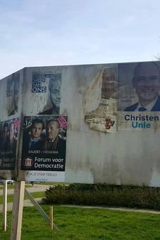 VVD poster op Urk in brand