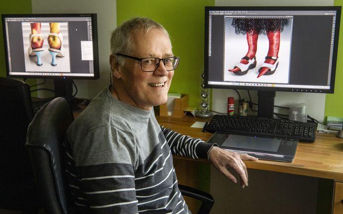 Hubert van Mastrigt met zijn winnende foto: rode pepers in open witte schoenen.