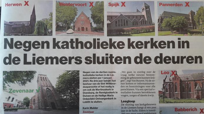De Gelderlander meldt in de krant de voorgenomen sluiting van de kerken.