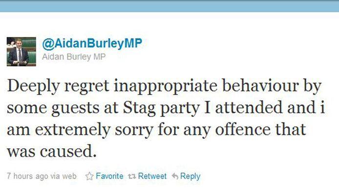 De tweet van Aidan Burley