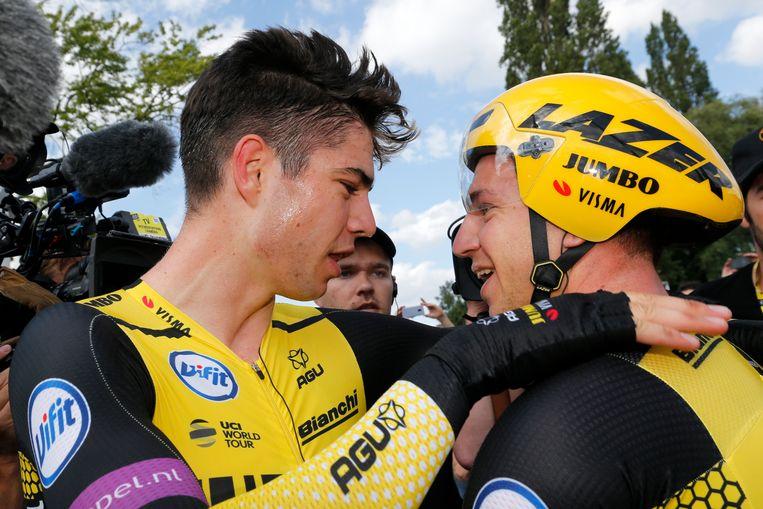 Van Aert met Groenewegen op een eerder moment in de Tour.