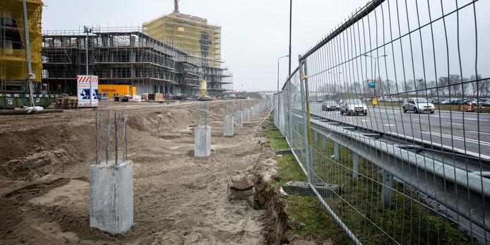 Een deel van Willemspoort in Den Bosch, in aanbouw.