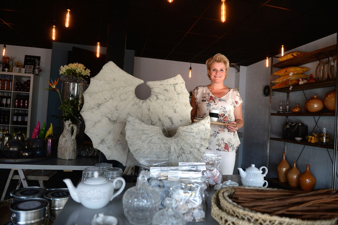 Markelo - Agnes Mensink in haar nieuwe winkel aan de Grotestrat 15 in Markelo. foto Annina Romita