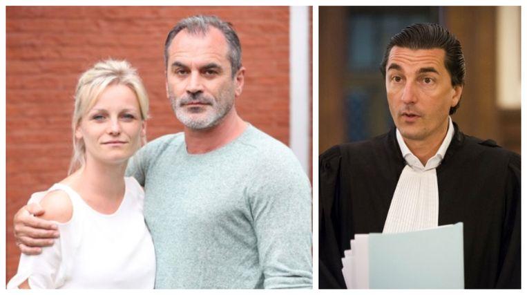 Links: Guy Van Sande en zijn echtgenote Nathalie. Rechts: strafpleiter Kris Luyckx.