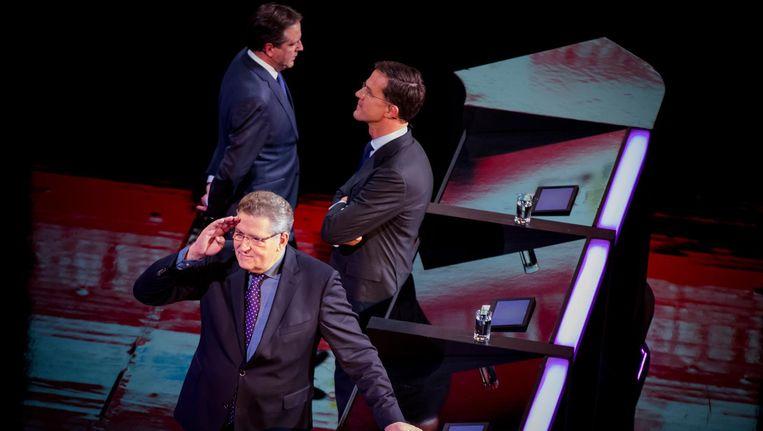Henk Krol (50Plus), Premier Mark Rutte en Alexander Pechtold (D66) tijdens het Carre-debat. Beeld anp