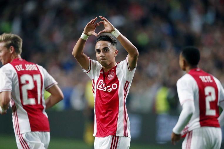Abdelhal Nouri bij zijn debuutwedstrijd bij Ajax. Beeld anp