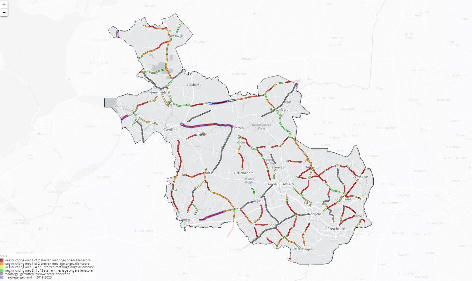 De kaart van Overijssel. Rood staat voor de gevaarlijkste categorie weg