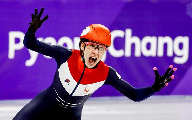 Suzanne Schulting tijdens de finale 1000 meter shorttrack in de Ice Arena tijdens de Olympische Winterspelen van Pyeongchang. Beeld ANP