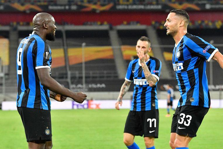 Romelu Lukaku mocht vieren met Inter tegen Leverkusen.