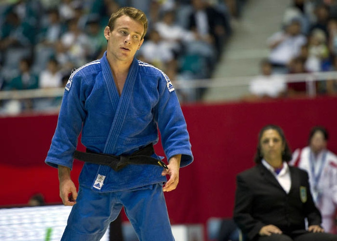 Jeroen Mooren na zijn uitschakeling op de WK judo. Foto: ANP