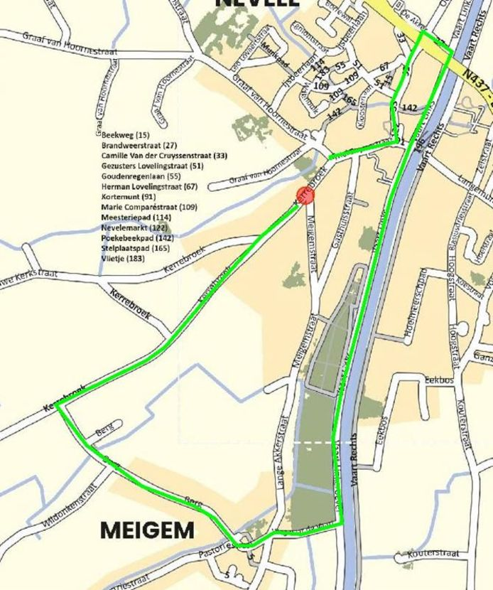 Het kruispunt Kerrebroek/Meigemstraat wordt maandag afgesloten.