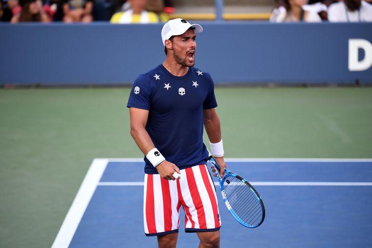 Fabio Fognini in zijn shirt met doodshoofd tijdens de US Open in 2018.  Beeld USA TODAY Sports