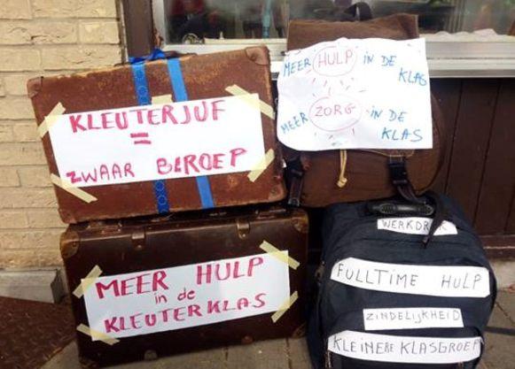 Directrice Joke Dejonghe van VBS Klavertje 3 plaatste deze foto op sociale media naar aanleiding van nationale schoolstaking.