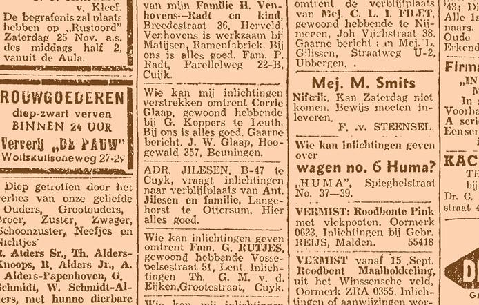 Advertenties met oproepen voor vermiste familieleden in 'De Gelderlander' van 23 november 1944.
