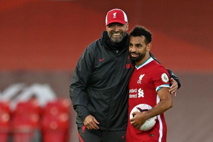 Liverpool-coach Jürgen Klopp en hattrickheld Mohamed Salah.