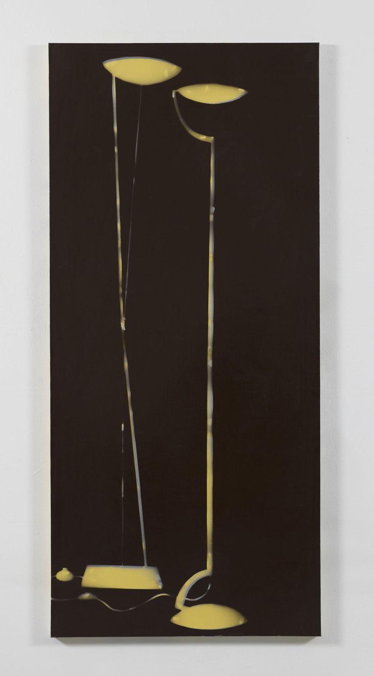 De eerste Amsterdamse aanschaf van Ruf: Isa Genzken, Zwei Lampen (1994). Lak op doek. Beeld Stedelijk Museum