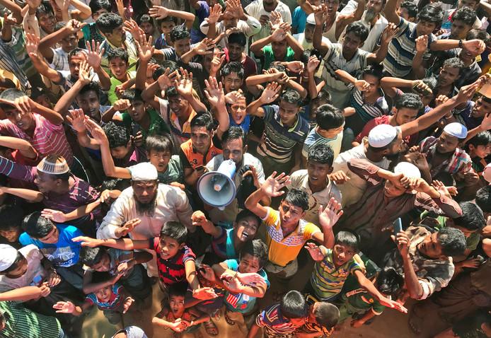 Rohingya-vluchtingen in Bangladesh tijdens een protest tegen repatriëring