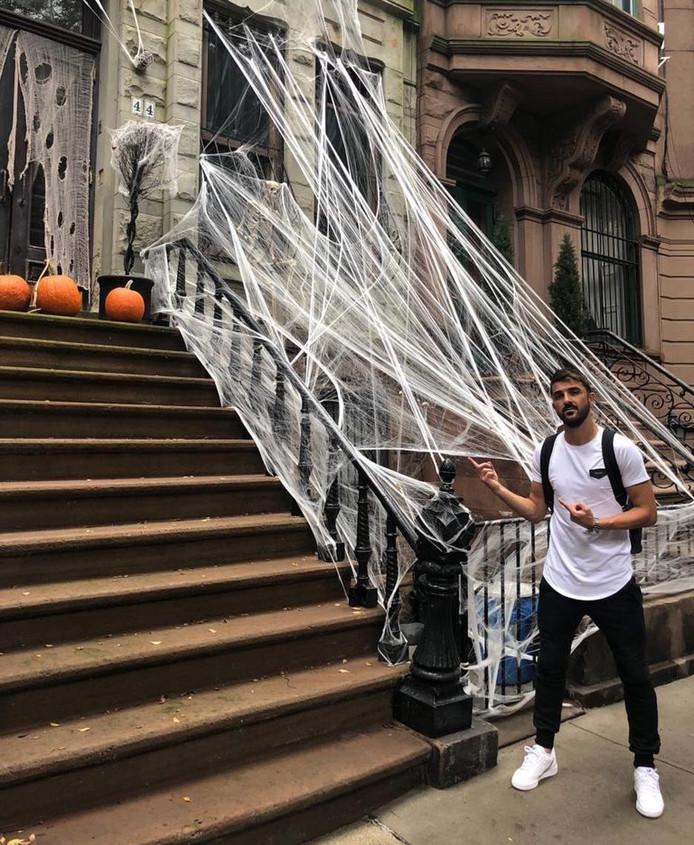 David Villa is klaar voor Halloween in New York.