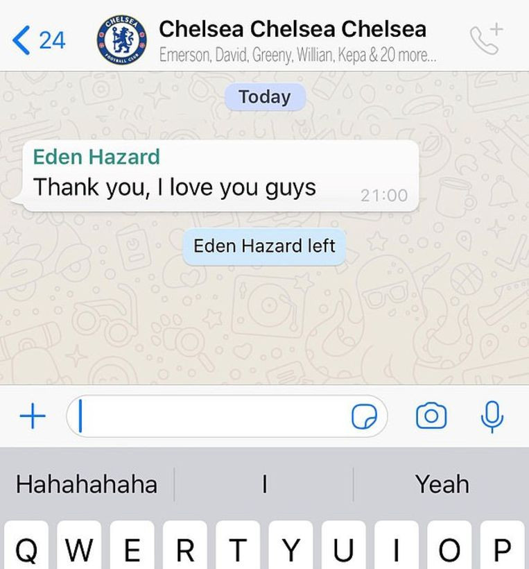 Le message d'adieu de Hazard