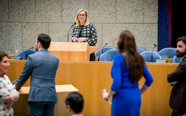 Minister Sigrid Kaag tijdens het Ceta-debat. Beeld null