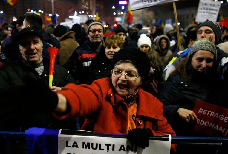 Protest in Boekarest Beeld ap