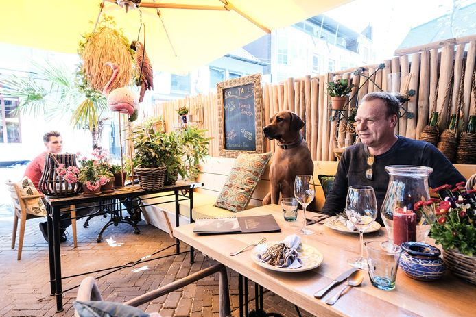 Henk-Jan Kuiper, eigenaar van Gringo's, met hond Lola.