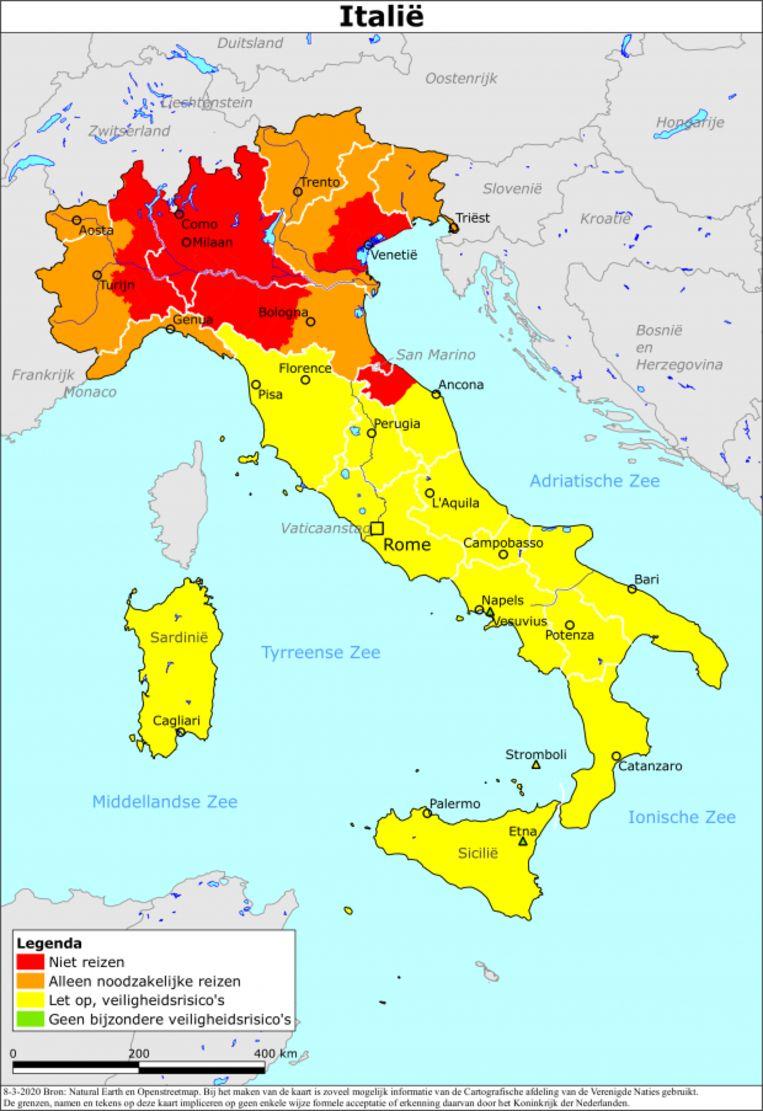 Een voorbeeld van een reisadvies met kleurcodes. Dit reisadvies voor Italië van begin maart, laat zien dat het coronavirus toen in het noorden van het land rondwaarde. Inmiddels geldt voor heel het land en de rest van de wereld een 'oranje' reisadvies.  Beeld Ministerie van Buitenlandse Zaken