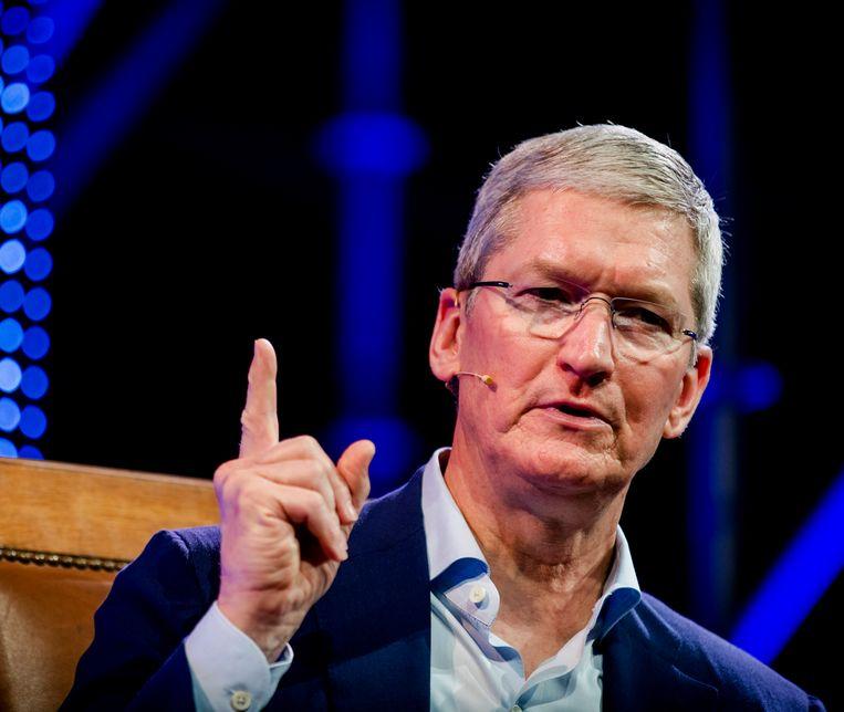 Apple-topman Tim Cook reageerde ontstemd over de achterstallige belastingeis van 13 miljard euro.