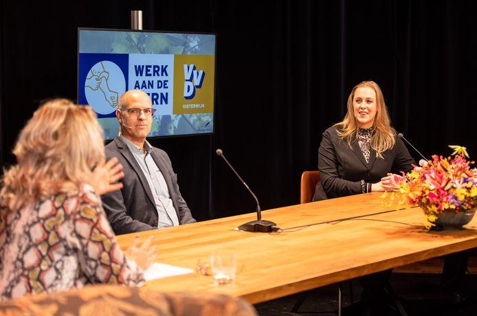 In een live uitzending van Lovo, de lokale omroep van Oisterwijk, becommentariëren Carlo van Esch (PGB) en Anne Cristien Spekle (VVD) hun verkiezingsuitslag. Beide partijen bleven met 6 zetels de rest ver voor.