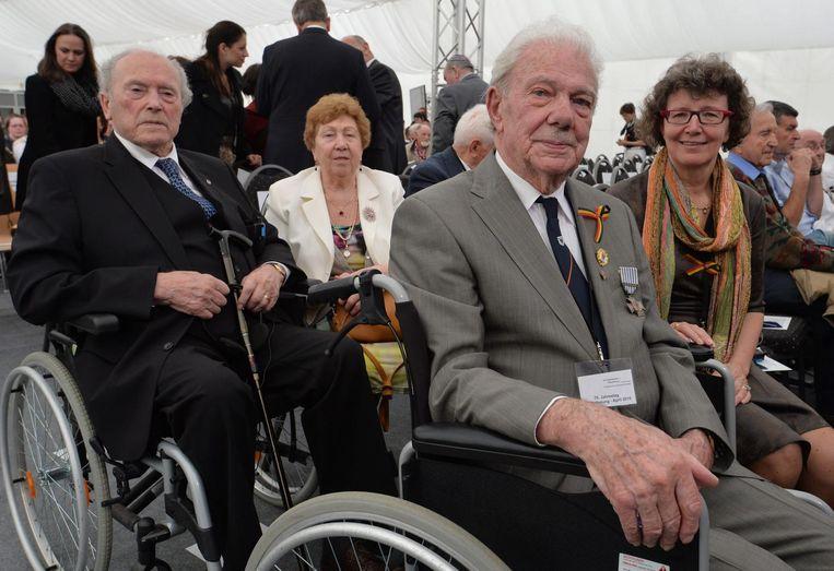 Marcel Durnez en zijn echtgenote bij de 70ste verjaardag van de bevrijding van Flossenbürg, het concentratiekamp waar zijn twee broers om het leven kwamen.