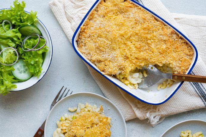 Macaronischotel met prei, jonge kaas en bloemkool