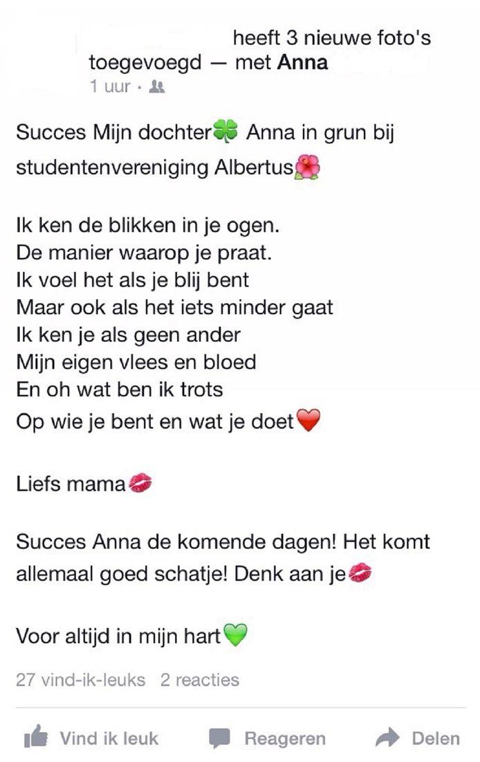 Verwonderlijk Gedichtje voor dochter op 'ontgroening' ontroert   Binnenland   AD.nl KR-72