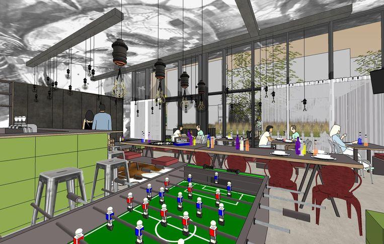 Een toekomstbeeld van het jeugdcafé, waar ook plaats zal zijn voor ontspanning.