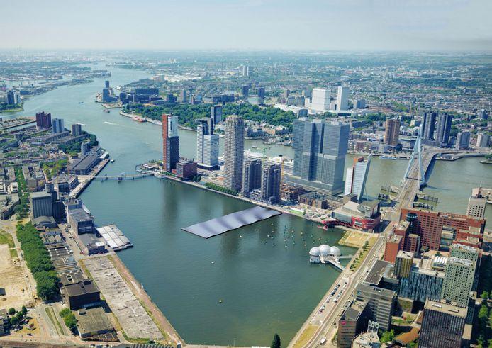 Impressie van het beoogde drijvend zonnepark dat in de Rijnhaven staat gepland.