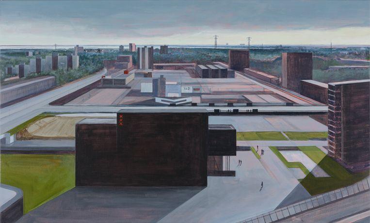 Stadsdeelkantoor Noord met daarachter winkelcentrum Boven 't Y Beeld Sigrid van Essel