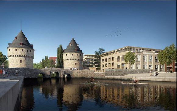 Een zicht op One Broel, met rechts vooraan het gebouw Paulinen met art-decogevel.