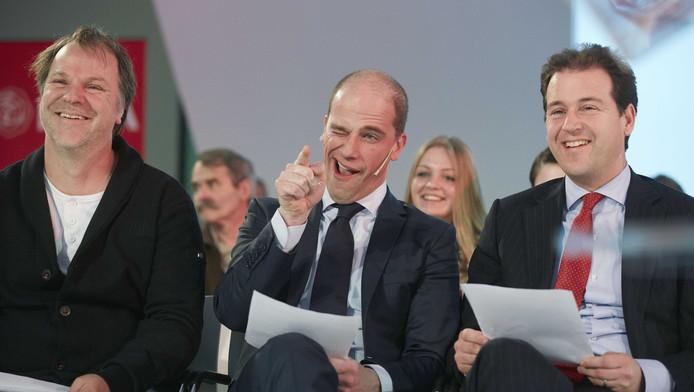 PvdA-voorzitter Hans Spekman, partij-leider Diederik Samsom en vicepremier Lodewijk Asscher.