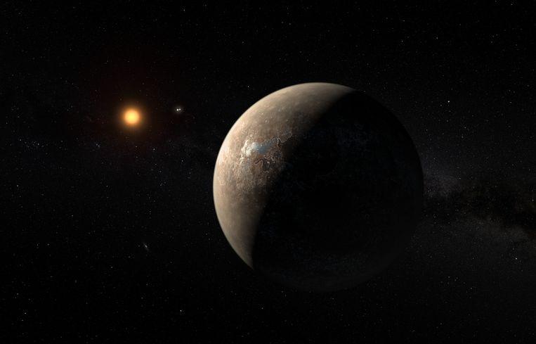 Een illustratie van Proxima B die rond de rode dwerg Proxima Centauri cirkelt. Proxima Centauri is de meest nabijgelegen ster van ons zonnestelsel.