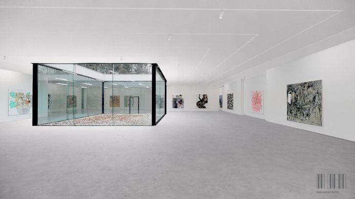 De tentoonstellingsruimte met de patio wordt het eerst vernieuwd. Op dit beeld zie je hoe de ruimte er zal uitzien.